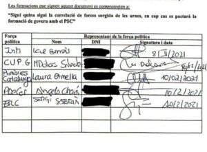 Documento firmado por Junts, ERC, PDeCAT, CUP y Primàries por el que se comprometen a no pactar con el PSC