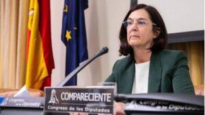 La candidata propuesta por el Gobierno para presidir la CNMC, Cani Fernández, durante su comparecencia ante la Comisión de Asuntos Económicos del Congreso
