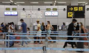 Pasajeros alemanes en el aeropuerto de Palma