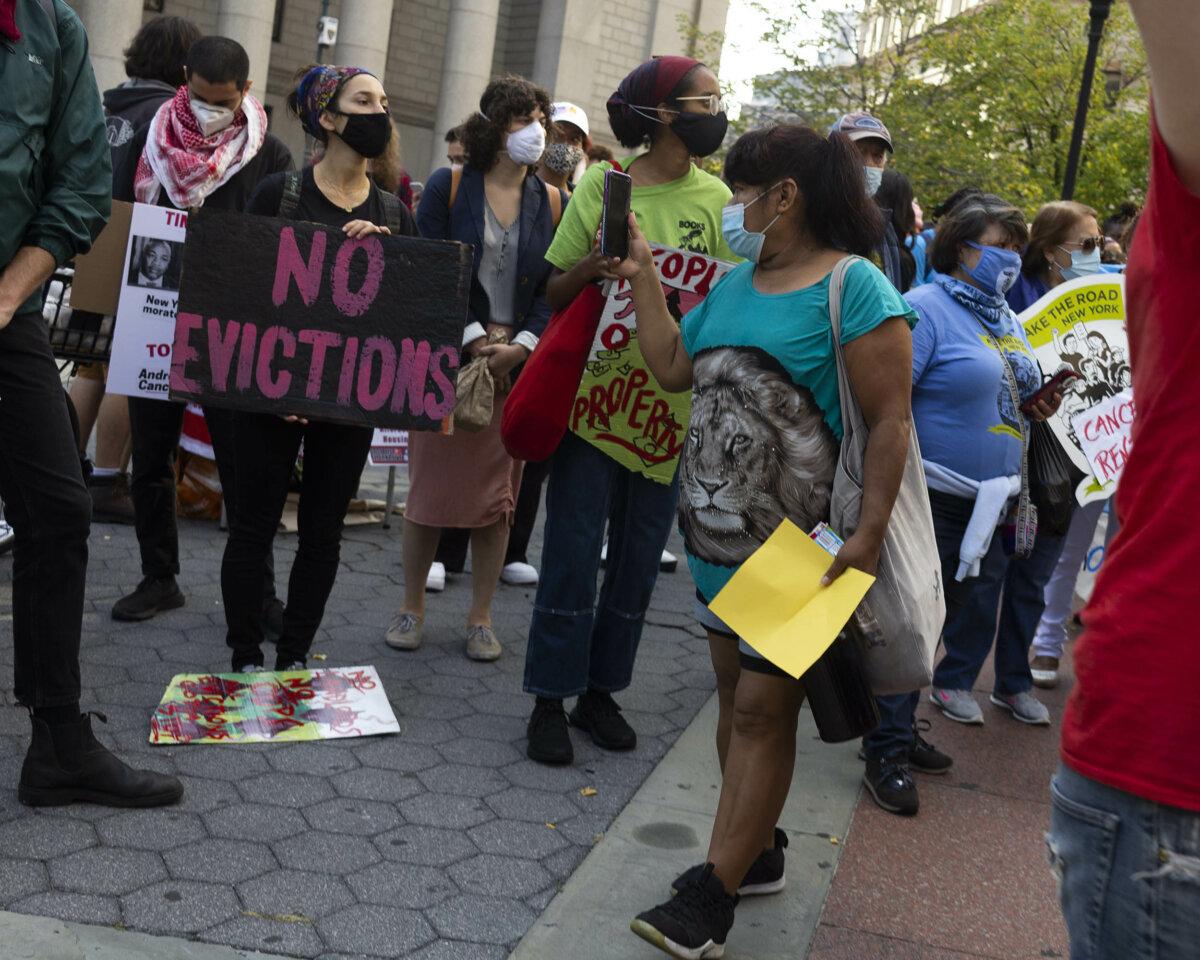 Portesta contra los desahucios en Nueva York, Estados Unidos