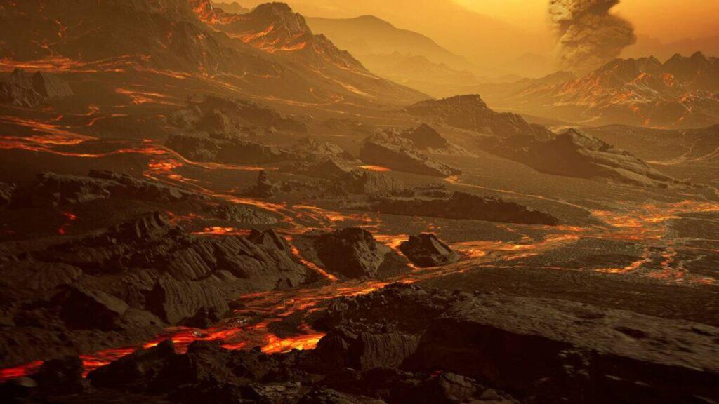 Recreación artística de la superficie del planeta Gliese 486b