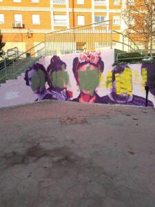 Mural feminista de Getafe vandalizado.