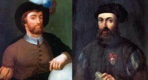 Retratos de Juan Sebastián Elcano y Fernando de Magallanes, protagonistas de la primera vuelta al mundo. / Nahia Blanco Iturbe/Alamy