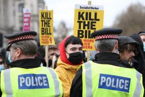 Protesta en Londres contra la propuesta de una ley de seguridad en Reino Unido