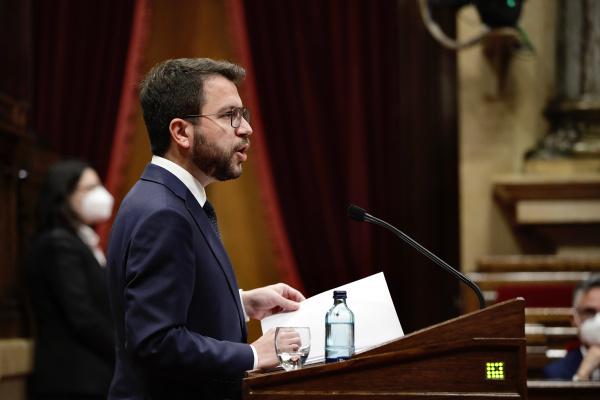 Pere Aragonès en el debate de investidura en el Parlament
