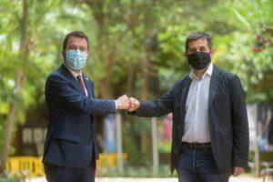 Pere Aragonès y Jordi Sànchez en el anuncio del acuerdo de gobierno.