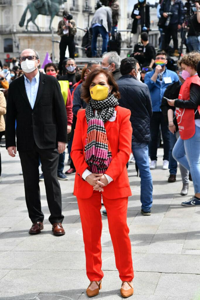 Carmen Calvo junto Ángel Gabilondo en los actos del 1º de mayo.