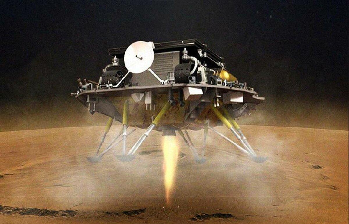 Ilustración del 'aterrizador' con Zhurong, el rover de la Administración Nacional China del Espacio que ha logrado aterrizar en la superficie marciana. / CNSA