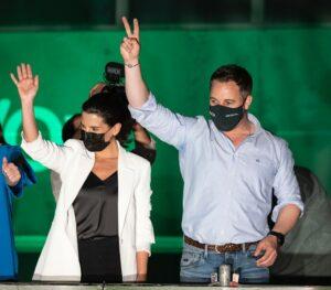 Santiago Abascal y Rocío Monasterio en la noche electoral.
