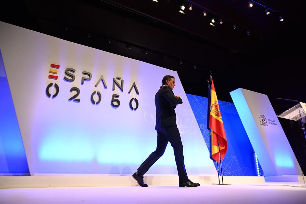 El presidente del Gobierno, Pedro Sánchez, en la presentación del informe 'España 2050'