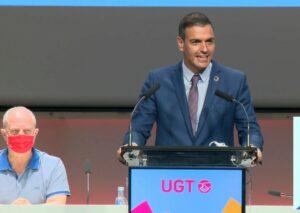 El presidente del Gobierno, Pedro Sánchez, en congreso de UGT.