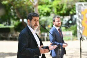 Jordi Sànchez y Pere Aragonès en la presentación del principio de acuerdo entre Junts y ERC.