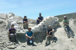 El equipo tras la excavación de la serie vertebral articulada, una vez protegida con yeso. / Diego Castanera / ICP