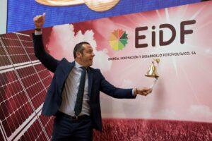 Fernando Romero, director general de EiDF, durante el toque de campana en la Bolsa de Madrid. - BME GROWTH