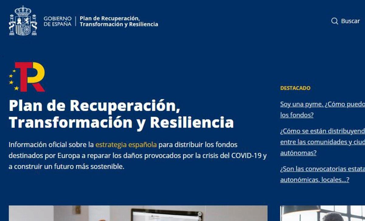 Captura de la nueva web del Plan de Recuperación, Transformación y Resiliencia - Gobierno de España
