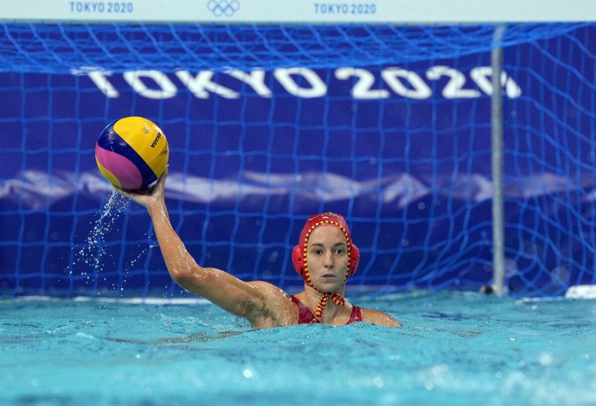 La portera de la selección española de waterpolo Laura Ester durante un partido en los Juegos Olímpicos de Tokio - COE