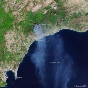 Incendio en Málaga captado por el satélite Copernicus Sentinel