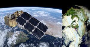 Ilustración de Sentinel-2 sobrevolando la Península y Canarias, e imagen real de la isla de La Palma con el volcán (en rojo) captada por este satélite el 20 de septiembre de 2021. / ESA-ATG medialab / UE-Copernicus Sentinel-2 imagery