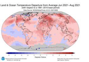 Anomalías de temperaturas en la superficie del planeta durante el trimestre entre junio y agosto de 2021 | Imagen: NOAA