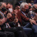El expresidente del Gobierno, José Luis Rodríguez Zapatero, el presidente del Gobierno, Pedro Sánchez y el expresidente del Gobierno, Felipe González, participan en el acto de apertura oficial, enmarcado en la segunda jornada del 40 Congreso Federal - Rober Solsona - Europa Press