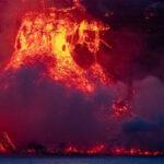 Colada de lava llegando al mar - IEO CSIC