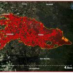 Mapa del recorrido de la lava en el volcán de La Palma por satélite