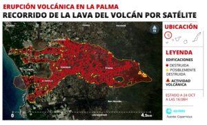 Mapa del recorrido de la lava en el volcán de La Palma por satélite - EPDATA